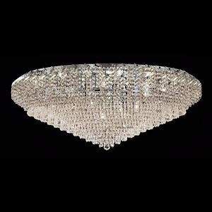 "Belenus Collection 36-Light 48"" Chrome Flush Mount with Clear Elegant Cut Crystal ECA4F48C/EC"