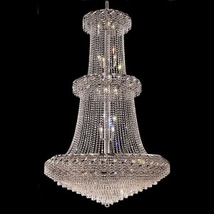 "Belenus Collection 32-Light 42"" Chrome Chandelier with Clear Royal Cut Crystal ECA4G42C/RC"
