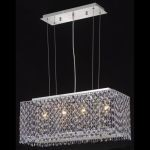 "Moda Collection 4-Light 9"" Chrome Island Light with Rosaline Pink Royal Cut Crystal 1291D26C-RO/RC"