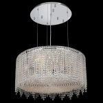 "Moda Collection 9-Light 26"" Chrome Pendant with Light Topaz Yellow Swarovski Strass Crystal 1393D26C-LT/SS"