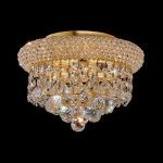 "Primo Collection 3-Light 10"" Gold Flush Mount with Clear  Swarovski Strass Crystal 1800F10G/SS"