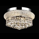 "Primo Collection 4-Light 12"" Chrome Flush Mount with Clear  Swarovski Strass Crystal 1800F12C/SS"