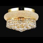 "Primo Collection 4-Light 12"" Gold Flush Mount with Clear Elegant Cut Crystal 1800F12G/EC"