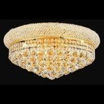 "Primo Collection 10-Light 20"" Gold Flush Mount with Clear Swarovski Spectra Crystal 1800F20G/SA"