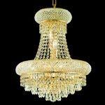 "Primo Collection 8-Light 16"" Gold Chandelier with Clear  Swarovski Strass Crystal 1802D16G/SS"