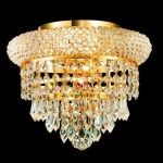 "Primo Collection 3-Light 10"" Gold Flush Mount with Clear Elegant Cut Crystal 1802F10G/EC"