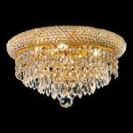 "Primo Collection 6-Light 14"" Gold Flush Mount with Clear Swarovski Spectra Crystal 1802F14G/SA"