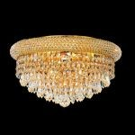 "Primo Collection 8-Light 16"" Gold Flush Mount with Clear  Swarovski Strass Crystal 1802F16G/SS"