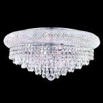 "Primo Collection 10-Light 20"" Chrome Flush Mount with Clear  Swarovski Strass Crystal 1802F20C/SS"