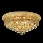 "Primo Collection 10-Light 20"" Gold Flush Mount with Clear Swarovski Spectra Crystal 1802F20G/SA"