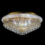 "Primo Collection 15-Light 28"" Gold Flush Mount with Clear Elegant Cut Crystal 1802F28G/EC"