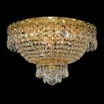 "Century Collection 4-Light 16"" Gold Flush Mount with Clear Elegant Cut Crystal 1900F16G/EC"