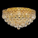 "Century Collection 4-Light 16"" Gold Flush Mount with Clear Royal Cut Crystal 1901F16G/RC"
