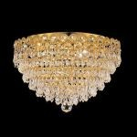 "Century Collection 4-Light 16"" Gold Flush Mount with Clear Swarovski Spectra Crystal 1902F16G/SA"