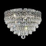 "Century Collection 6-Light 18"" Chrome Flush Mount with Clear  Swarovski Strass Crystal 1902F18C/SS"