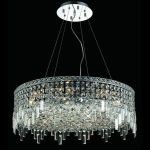 "Maxim Collection 12-Light 28"" Chrome Pendant with Clear  Swarovski Strass Crystal 2031D28C/SS"