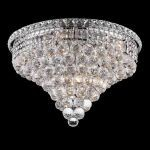 "Tranquil Collection 10-Light 20"" Chrome Flush Mount with Clear  Swarovski Strass Crystal 2527F20C/SS"