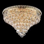 "Tranquil Collection 10-Light 20"" Gold Flush Mount with Clear  Swarovski Strass Crystal 2527F20G/SS"
