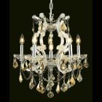 "Maria Theresa Collection 6-Light 20"" Chrome Chandelier with Golden Teak Smoky Royal Cut Crystal 2800D20C-GT/RC"