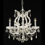 "Maria Theresa Collection 6-Light 20"" White Chandelier with Golden Teak Smoky Royal Cut Crystal 2800D20WH-GT/RC"
