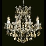 "Maria Theresa Collection 9-Light 26"" Chrome Chandelier with Golden Teak Smoky Royal Cut Crystal 2800D26C-GT/RC"