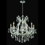 "Maria Theresa Collection 9-Light 26"" Chrome Chandelier with Clear Elegant Cut Crystal 2800D26C/EC"