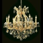 "Maria Theresa Collection 9-Light 26"" Gold Chandelier with Golden Teak Smoky Royal Cut Crystal 2800D26G-GT/RC"
