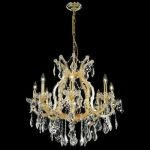 "Maria Theresa Collection 9-Light 26"" Gold Chandelier with Clear Elegant Cut Crystal 2800D26G/EC"