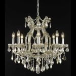 "Maria Theresa Collection 9-Light 26"" Golden Teak Chandelier with Golden Teak Smoky Royal Cut Crystal 2800D26GT-GT/RC"