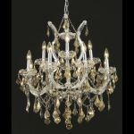 "Maria Theresa Collection 13-Light 27"" Chrome Chandelier with Golden Teak Smoky Swarovski Strass Crystal 2800D27C-GT/SS"