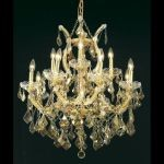 "Maria Theresa Collection 13-Light 27"" Gold Chandelier with Golden Teak Smoky Swarovski Strass Crystal 2800D27G-GT/SS"