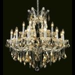 "Maria Theresa Collection 19-Light 30"" Chrome Chandelier with Golden Teak Smoky Swarovski Strass Crystal 2800D30C-GT/SS"