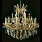 "Maria Theresa Collection 19-Light 30"" Gold Chandelier with Golden Teak Smoky Swarovski Strass Crystal 2800D30G-GT/SS"