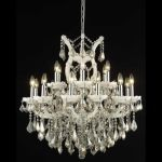 "Maria Theresa Collection 19-Light 30"" White Chandelier with Golden Teak Smoky Swarovski Strass Crystal 2800D30WH-GT/SS"