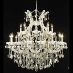 "Maria Theresa Collection 24-Light 36"" White Chandelier with Golden Teak Smoky Swarovski Strass Crystal 2800D36WH-GT/SS"