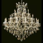 "Maria Theresa Collection 37-Light 44"" Chrome Chandelier with Golden Teak Smoky Swarovski Strass Crystal 2800G44C-GT/SS"