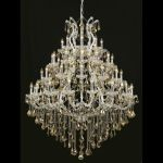 "Maria Theresa Collection 49-Light 46"" Chrome Chandelier with Golden Teak Smoky Royal Cut Crystal 2800G46C-GT/RC"