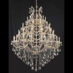 "Maria Theresa Collection 49-Light 46"" Gold Chandelier with Golden Teak Smoky Royal Cut Crystal 2800G46G-GT/RC"