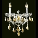 "Maria Theresa Collection 2-Light 12"" Chrome Wall Sconce with Golden Teak Smoky Swarovski Strass Crystal 2800W2C-GT/SS"