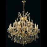 "Maria Theresa Collection 24-Light 36"" Gold Chandelier with Golden Teak Smoky Swarovski Strass Crystal 2801D36G-GT/SS"