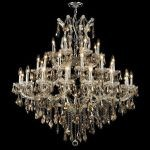 "Maria Theresa Collection 37-Light 44"" Chrome Chandelier with Golden Teak Smoky Swarovski Strass Crystal 2801G44C-GT/SS"
