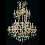 "Maria Theresa Collection 61-Light 54"" Gold Chandelier with Golden Teak Smoky Swarovski Strass Crystal 2801G54G-GT/SS"