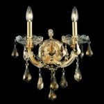 "Maria Theresa Collection 2-Light 12"" Gold Wall Sconce with Golden Teak Smoky Royal Cut Crystal 2801W2G-GT/RC"