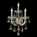 "Maria Theresa Collection 3-Light 12"" Chrome Wall Sconce with Golden Teak Smoky Royal Cut Crystal 2801W3C-GT/RC"