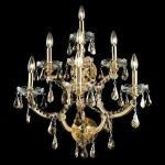 "Maria Theresa Collection 7-Light 22"" Gold Wall Sconce with Golden Teak Smoky Swarovski Strass Crystal 2801W7G-GT/SS"