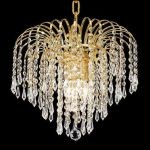 "Falls Collection 4-Light 14"" Gold Chandelier with Clear  Swarovski Strass Crystal 6801D14G/SS"