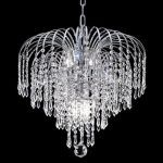 "Falls Collection 6-Light 19"" Chrome Chandelier with Clear  Swarovski Strass Crystal 6801D19C/SS"