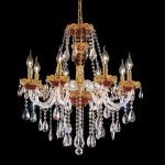 "Alexandria Collection 8-Light 26"" Gold Chandelier with Green Glass and Clear  Swarovski Strass Crystal 7810D26GN/SS"
