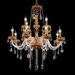 "Alexandria Collection 12-Light 33"" Gold Chandelier with Green Glass and Clear  Swarovski Strass Crystal 7810G33GN/SS"