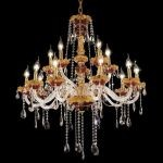 "Alexandria Collection 15-Light 35"" Gold Chandelier with Green Glass and Clear  Swarovski Strass Crystal 7810G35GN/SS"